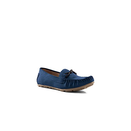 Canvas by Lands' End Women's Driving Moccasins, 6.5, Ocean Bay