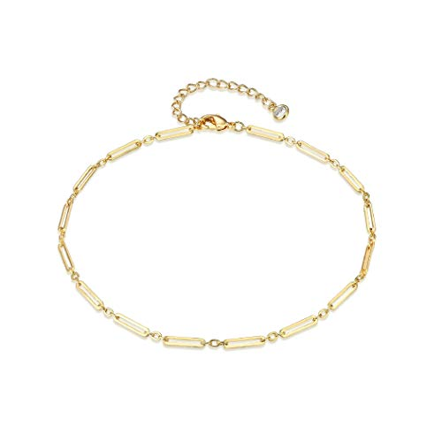 LOYATA Dainty Ankle Bracelet, 14K Gold Plated Link Chain Anklet Cute Elephant Delicate Star Tiny Cross Fish Dolphin Foot Jewelry Boho Ankle Bracelets for Women (Chain) ()