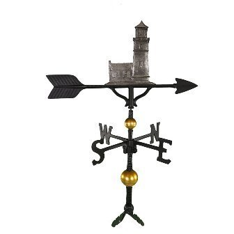 Montague Metal Products 32-Inch Deluxe Weathervane with Swedish Iron Cottage Lighthouse Ornament ()