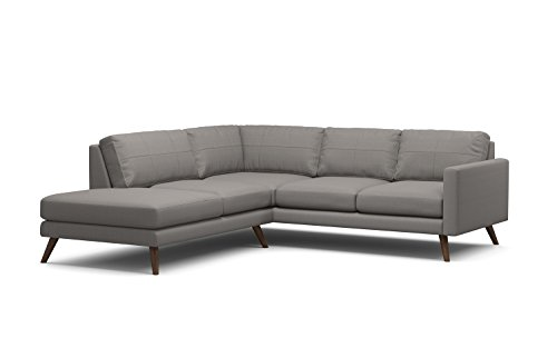 TrueModern Dane Corner Sectional Fabric Sofa with Bumper, Walnut Finish, Left Facing, Mouse