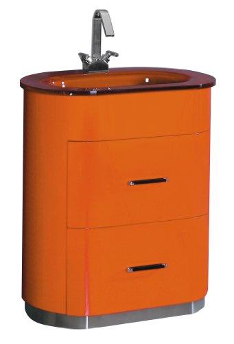 Luxo Marbre RETRO 2831 O Retro Vanity with Tempered Glass Sink, Orange - Vanity with drawers and tempered glass sink Offered in three colors: orange, red and white Tempered glass sink: 2.75-Inch x 18-Inch, 1.5-Inch drain opening - bathroom-vanities, bathroom-fixtures-hardware, bathroom - 31X1%2BQczPYL -
