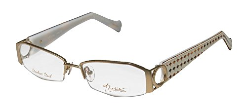 Ivory Metal Frames - Thalia Anillos Womens/Ladies Designer Half-rim Eyeglasses/Eye Glasses (52-16-133, Gold / Ivory)