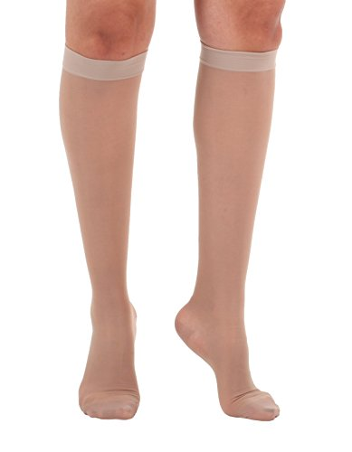 Sheer Compression Socks, Knee High, Firm Graduated Support 20-30mmHg, Size Large Color Nude - Absolute Support Medical Compression Socks - Made In USA - Sku - Usa Nude