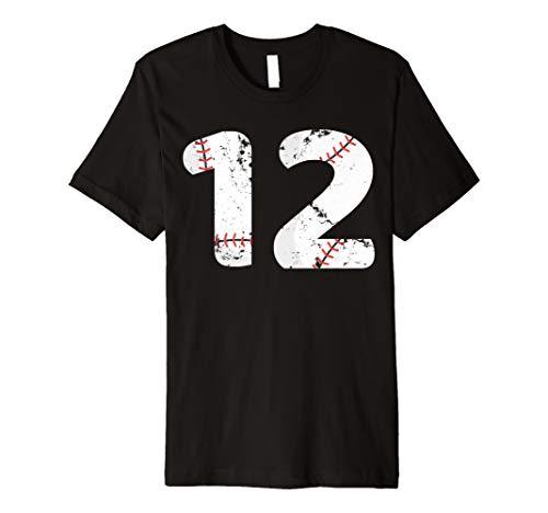 Number #12 BASEBALL Vintage Distressed Team Shirt ()