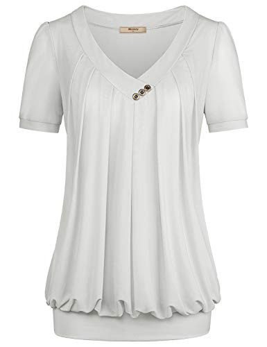 Miusey Summer Tops for Women,Short Sleeve High V Neck T Shirt Fashion A-line Layering Pleated Front and Band Bottom Lightweight Suitable Casual Wearing Outdoor White M ()