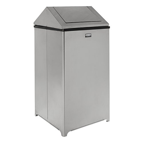 Rubbermaid Commercial WasteMaster Trash Can with Retainer Bands, 40 Gallon, Stainless Steel, FGT1940SSRB -