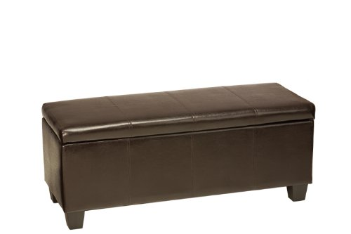 Cortesi Home Nives Long Storage Ottoman Bench, Espresso Brown