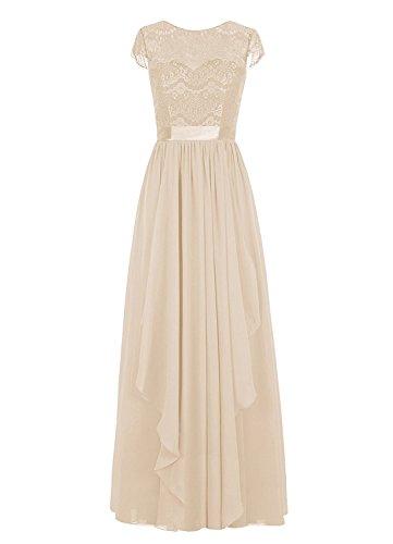 Lace Women with Bridesmaid Short Chiffon Sleeves s Long Champagne Bridal Dress Amore Dress Party fA5wqg0acv