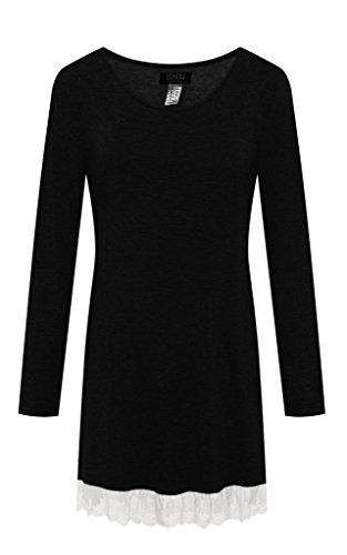 ZSHOW Women's Three Seasons Casual Dress Loose Blouse Tunic(Black,X-Large)