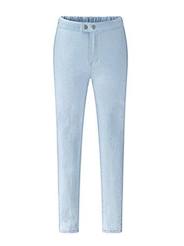Pantalòn Skinny Mujer, Pantalones Elásticos Slim Leggings Pantalones Largos Elegantes Oficina Celeste