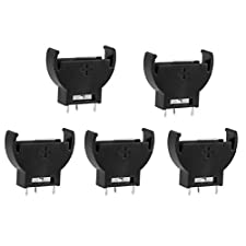 uxcell® 5 Pcs Black Plastic CR2032 Cell Button Lithium Battery Sockets Holder