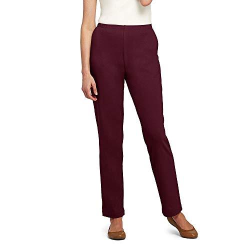 Lands' End Women's Petite Sport Knit Elastic Waist Pants High Rise, M, Deep Claret