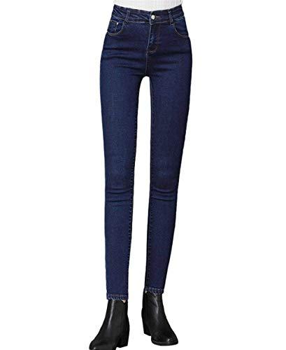 Pantaloni In Dunkel Marca Il Mode Blau Matita Di Termici Libero A Frontali Pile Per Tempo Jeans Donna Denim Bolawoo Tasche wUXqIqF