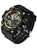 SANDA Digital Watch Silicone Band Multifunctional Waterproof LED Military Sport Dual Display Wristwatch (Gold)