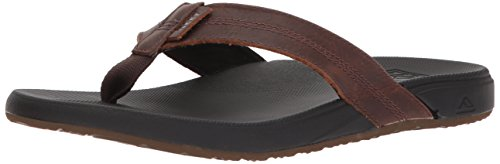 (Reef Men's Cushion Bounce Phantom Leather Sandal, Black/Brown, 7 M US)