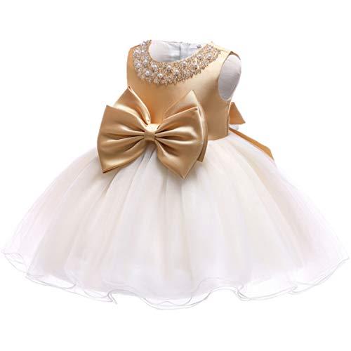 Floral Beaded Formal Dress - KILO&METERS Gold Formal Prom Summer Wedding Girls Dresses A-line Sleeveless Knee Length Tutu Ruffle Kids Dress Princess Christeing Birthday Party Baby Dress 6M