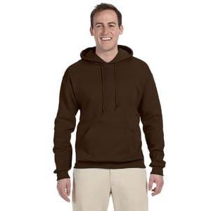 Jerzees Men's NuBlend Hooded Pullover Sweatshirt, Large, Chocolate