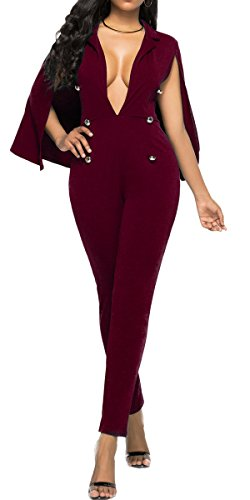 Bodycon4U Women's V Neck Cape Sleeve Double-Breasted Party Cocktail Club Bodycon Jumpsuit Romper Burgundy (Double Breasted Cloak)