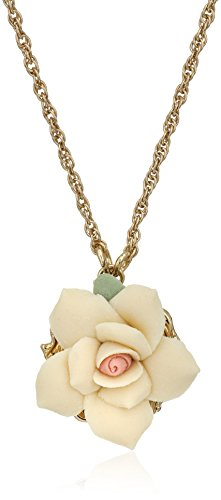 1928 Jewelry  Ivory Color Rose Pendant