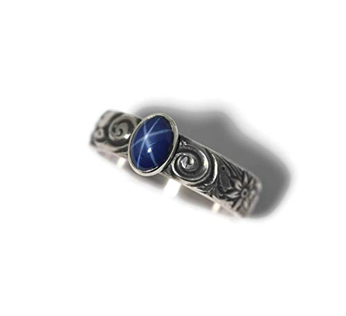 Small Oval Created Blue Star Sapphire and Sterling Silver Ring on Floral Band in Antique Finish (Created Blue Star Sapphire Ring)