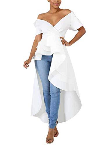 - ThusFar Women's Sexy Wrap Deep V Neck Cap Sleeve Layer Peplum Ruffle High Low Tops Blouse Shirt Homecoming Party Dress White XXL