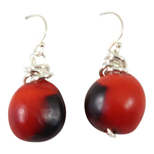 Peruvian Earrings for Women - Huayruro Red Black Seed Dangles - Natural Handmade Jewelry by Evelyn ()