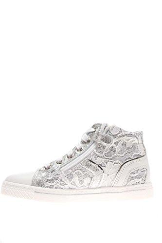 Nero Giardini Junior Mädchen Sneaker Hohe p631263F-707Sneaker High Leder und Makramee Bianco