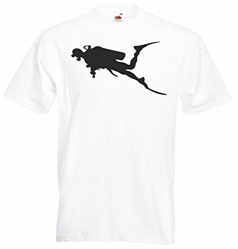 Black Dragon - T-Shirt Man / JDM / Die cut - white - Scuba diving silhouette S - JDM / Die cut