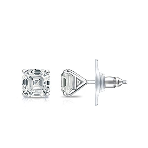 IGI Certified 14k White Gold 4-Prong Martini Asscher-cut Diamond Stud Earrings (1ct,White,SI1-SI2)