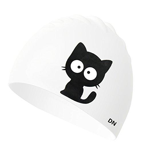 Greenery-GRE Kids Swim Cap, Cartoon Animal Silicone Long Hair Swim Caps for Toddler Children, UV Blocked & Waterproof Cat/Dog Print Swimming Hats for Girls Boys (Cat) (Swimming Animal Cap)
