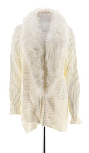 Dennis Basso Faux Fur Shawl Collar Cardigan Ivory M New A280542 ()