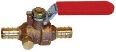 Watts PEX LFP-564 In-Line Full Port Ball Valve 1/2-Inch Barb x Barb 1/4-Inch Drain Low-Lead, Brass