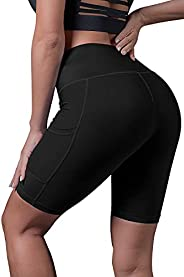 Menore High Waist Women's Running Shorts with Pockets Tummy Control Workout Athletic Yoga Shorts