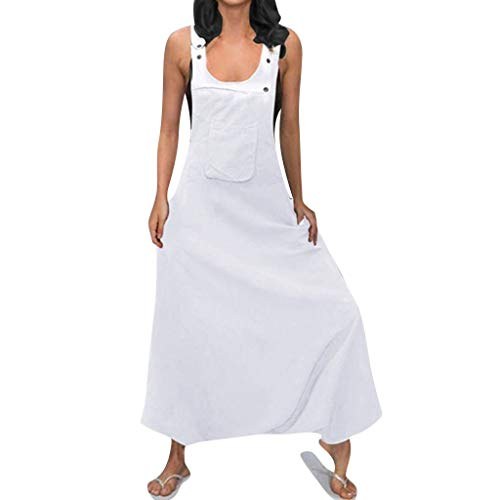 (vermers Camisole Jumpsuits for Women - Ladies Summer Sleeveless Backless Loose Long Rompers(2XL, White#))