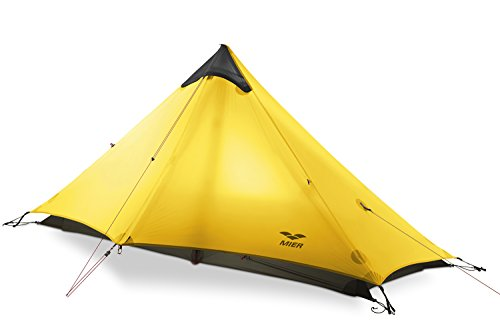 MIER Ultralight Tent 3-Season Backpacking Tent for 1-Person or 2-Person Camping, Trekking, Kayaking, Climbing, Hiking (exclude Trekking Pole), 1-Person, Yellow