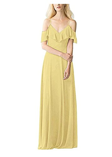 Bridesmaid Neck Evening Yellow Prom Long Gown Sexy V Dresses Burgundy Chiffon tBw5Aq7