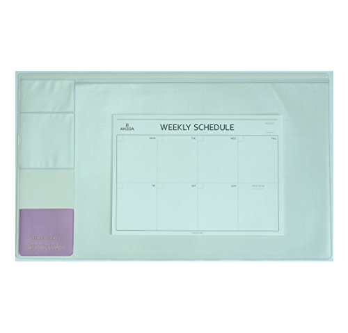 There`s Desk Pad with A4 Size Weekly Schedulers, 21.6 X 12.8 Inch Desk Mat Clear Transparent Cover (Ivory) ()