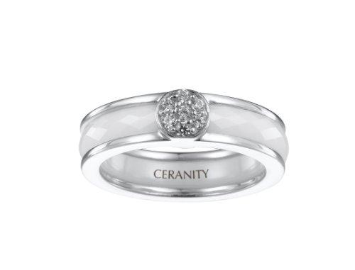 Ceranity - 1-12/0004-B - Bague Anneaux Femme - Motif Pastille - Argent 925/1000 3.51 gr - Oxyde de zirconium - Céramique - Blanc