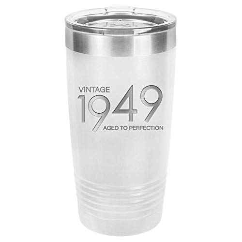 - 1949 70th Birthday Gifts for Men and Women White 20 oz Insulated Stainless Steel Tumbler | 70 Year Old Presents | Mom Dad Wife Husband Present | Party Decorations Supplies Anniversary Tumblers Gift th