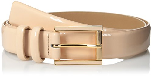 Calvin Klein Women's Patent Belt with Feather Edge, Silk/Polished Rose Gold, X-Large