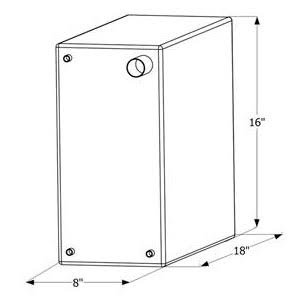 ICON 12465 Fresh Water Tank with 3/8'' FTP and 1-1/4'' Filter WT2465-10 Gallon (18'' x 8'' x 16'')