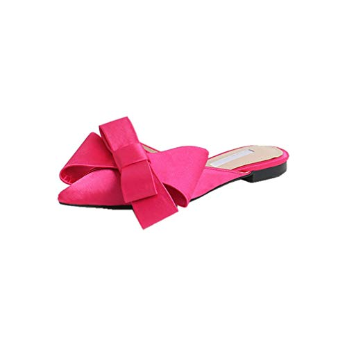 Real Silk Butterfly-Knot Slippers Woman Mules Shoes Summer Riband Bow Knot Slides Woman Flip Flops,Rosy Red,8.5
