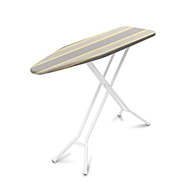 Homz Premium 4-Leg Ironing System, 53.9 x 14.4 x 36.5 Inches, Almond Leg  with Cream Stripe Cover