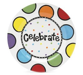Celebrate Ceramic Platter Plate - Colorful Birthday Dots 11