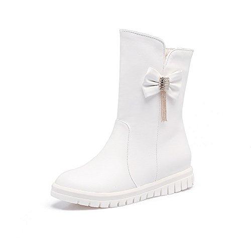 Urethane Bows BalaMasa nbsp; Velvet Calf Womens ABL10567 Mid White Boots nbsp;Lining 0F0A6x