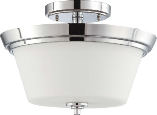 (Nuvo Lighting 60/4087 Two Light Bento Semi-Flush Dome in Satin Glass and Polished Chrome)