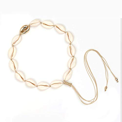 XY Fancy Natural Shell Necklace Bracelet Set Adjustable Handmade Woven Cowrie Jewelry Boho Hawaii Beach Seashell Choker for Women Girls (Gold Necklace)