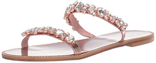 Badgley Mischka Women's Loveday Flat Sandal, Rose Leather, 9.5 M US