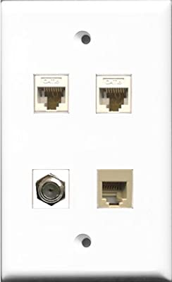 RiteAV 1 Port Coax Cable TV- F-Type and 1 Port Phone RJ11 RJ12 Beige 2 Port Cat6 Ethernet Wall Plate