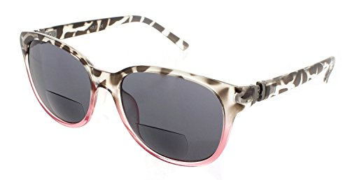 Womens Bifocal Sun Reader Sunglasses Fashion Trendy Readers Reading Glasses (Black/Pink, - Sunglasses Readers